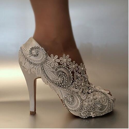 Rhinestones a bianca Womens Scarpe Toe Stilettos Tacco Peep Perle Lace spillo JINGXINSTORE 5w7qIP
