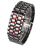 Bags shop High Quality Creative Lava Style Iron Samurai Men Full Steel Watch Men Sports Led Digital Watch With Red Light Qy0100