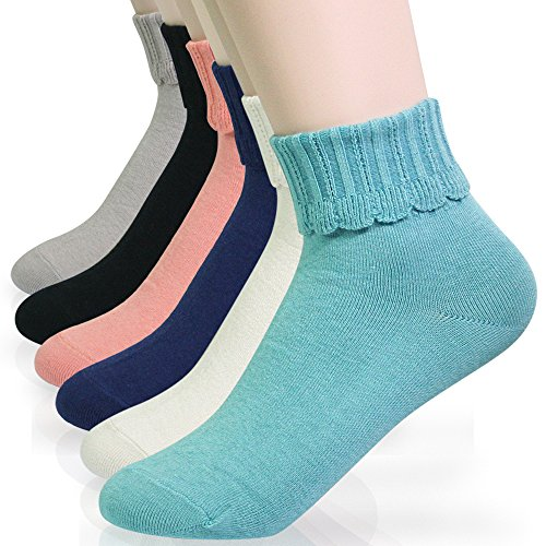 Fold Lace (KONY Women's Luxury 6 Pack Casual Cotton Cute Turn Cuff Crew Socks - Fold Over Design (Lace cover))