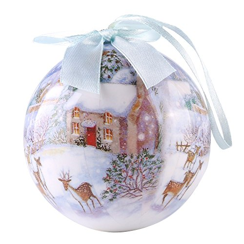 CueCue Pet Vintage Style Winter Wonderland Collection Christmas Ball Top Bow-Warm House Holiday Ornament, One Size, Multi-Colored