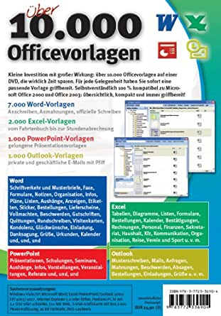 über 10 000 Officevorlagen Word Excel Powerpoint Outlook 10000 Office Vorlagen