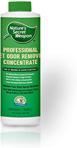 Nature's Secret Weapon Pet Urine Stain & Odor Remover – Professional Strength Odor Eliminator and Destroyer – Won't Harm Cats, Dogs or Your Family (New) 16oz Refill Makes (2) 32oz Spray Bottles