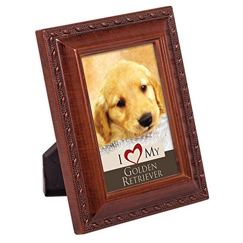 Cottage Garden I Love My Golden Retriever 2x3 Photo Woodgrain Finish Frame Easel (Retriever Dog Breed Picture Frame)