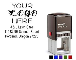 Custom Logo Stamp. Business Logo Stamper with Return Address or Company Details up to 5 Lines. Choose Your Ink Color - Size 1 5/8 x 1 5/8.