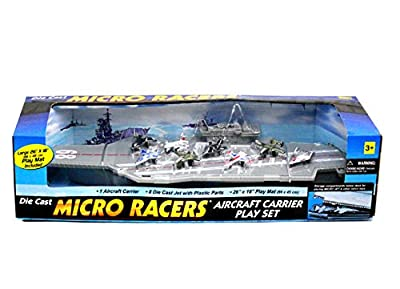 Aircraft Carrier Die Cast Micro Racers Play Set For Kids Age 3+
