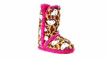 86ef1a731 Amazon.com: Hello Kitty Leopard Sherpa-Lined Bootie Slippers – Girls ...