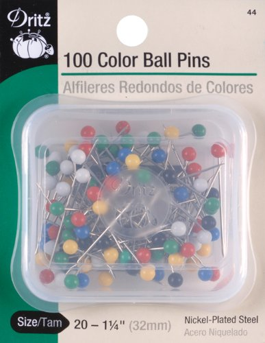 - Dritz 44 Color Ball Pins, 1-1/4-Inch (100-Count)