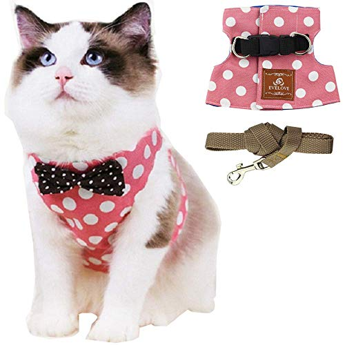 ANIAC Pet Escape Proof Harness and Leash Set with Bow Knot Padded Cat Vest Adjustable Walking Jackets Costume Accessories for Kitten Puppy and Small Dogs (Medium(6.5-11 LB), Pink) -