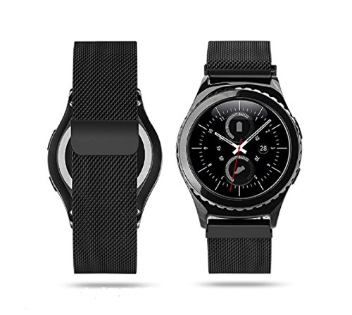 Samsung Gear S2 Classic Watch Band, AWStech Milanese Loop Strap Magnetic Buckle Stainless Steel Replacement Wrist Band for Samsung Gear S2 Classic Smart Watch - Black