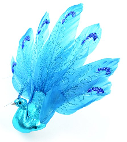 Touch of Nature Fancy Feather Glitter Peacock, 7-Inch, Blue (Feather Glitter Bird)