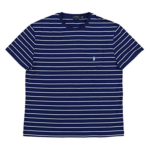 Polo Ralph Lauren Men's Classic Fit Pocket T-Shirt (Large, Navy White Stripes) (Classic-fit Polo Pocket Tee)