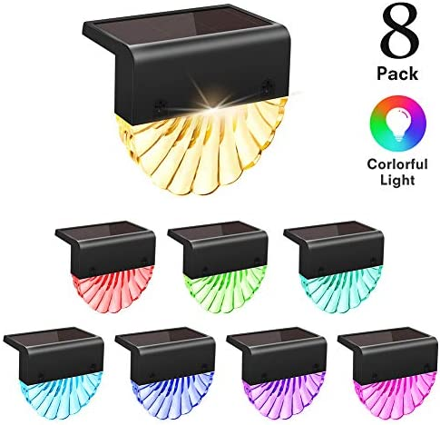 Solar Deck Lights Outdoor, CIYOYO Waterproof Solar Powered Fence Lights, Warm White LED Color Changing Lighting Wall Lamp for Stairs Deck Fence Step Post Pathway Yard Garden Decor, 8 Pack