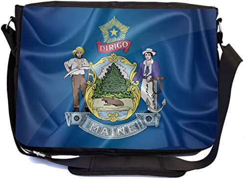 Rikki Knight Maine State Flag Design Premium Messenger Bag - School Bag - Laptop Bag - with Padded Insert for School or Work - with Matching Pencil Case