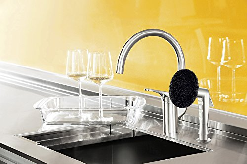 Grana Dish Genie Agrion Modern Single Handle Kitchen Faucet with Side Spray & Washing Sponges (Brushed Nickel) by Grana (Image #4)