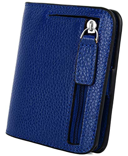 YALUXE Women's RFID Blocking Small Compact Leather Wallet Ladies Mini Purse with ID Window Blue RFID by YALUXE