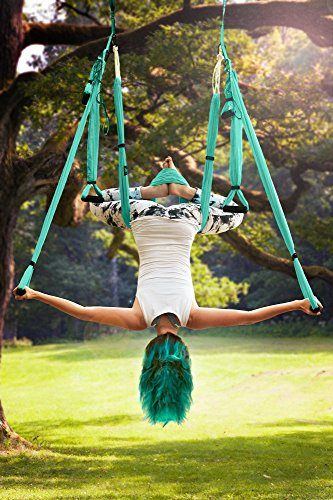 Aerial Yoga Swing Set - Yoga Hammock - Aerial Trapeze Kit + 2 Extension Straps & eBook - Large Flying Yoga Inversion Tool - Anti-Gravity Hanging Yoga Sling - Indoor Outdoor Fly Yoga - Men Women Kids by Yoga4You (Image #7)