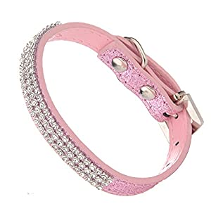LOVPE Glitter Powder Leather Bling Crystal Cozy Dog Collar For Small Dog Walking Training Travel (S, Pink)