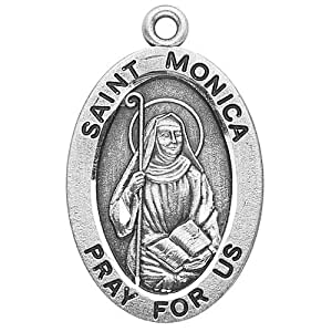 """Sterling Silver Oval Medal Necklace Patron Saint St. Monica with 18"""" Chain in Gift Box, Patron Saint of (Patronage of) abuse victims, alcoholics, alcoholism, difficult marriages, disappointing children, homemakers, housewives, married women, mothers, victims of adultery, victims of unfaithfulness, victims of verbal abuse, widows, wives"""