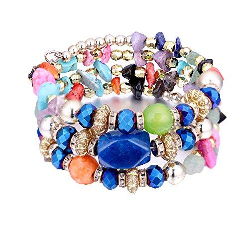Bohemian Crystal Gem Colorful Stretch Bead Multilayer Bracelet Stack of 3 for Women … - Colorful Bead Bracelet