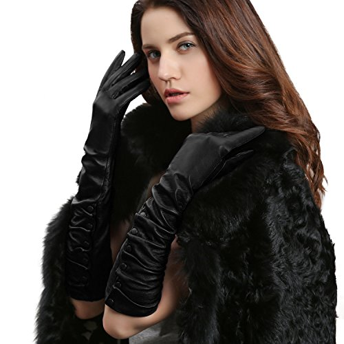 GSG Ladies Stylish Winter Warm Genuine Leather Elbow Gloves Arm Warmer Dress Gloves Womens Party Evening Accessory Nice Gifts Black (Leather Elbow Length Gloves)