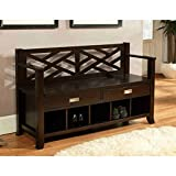 Wyndenhall Lancaster Pine/wood Manufactured Espresso Brown Finished Entryway Storage Bench with Two Drawers & Five Shoe Cubbies