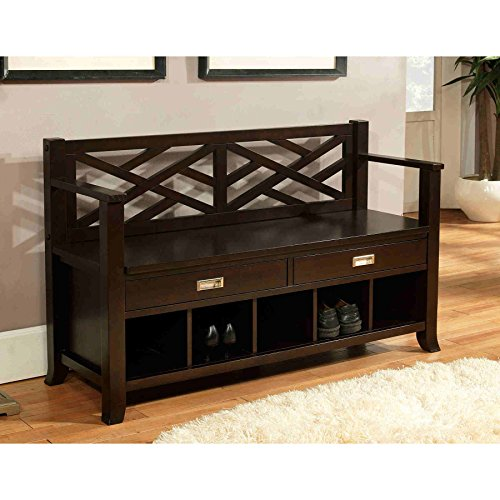 Wyndenhall Lancaster Pine/wood Manufactured Espresso Brown Finished Entryway Storage Bench with Two Drawers & Five Shoe - Wood Brown Lancaster