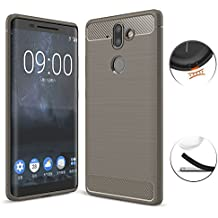 Nokia 8 Sirocco Case, TopACE Ultra Thin Carbon Fiber Scratch Resistant Shock Absorption Soft TPU Protective Cover for Nokia 9 / Nokia 8 Sirocco (Gray)