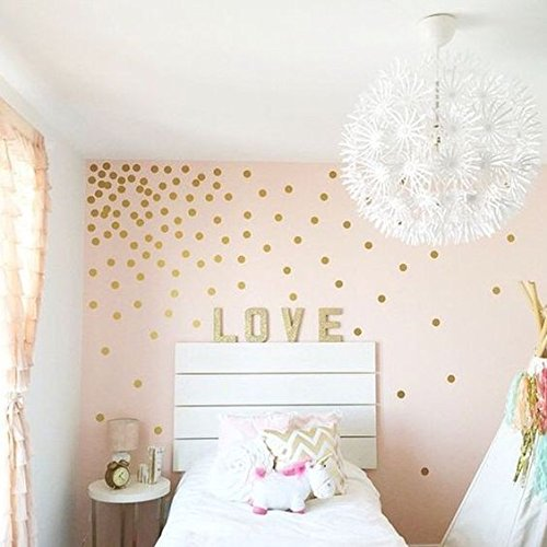 Gold Wall Dots (200 Decals) 2'' Inch | Easy Peel & Stick + Safe on Walls Paint | Removable Metallic Vinyl Polka Dot Decor | Circle Art Sticker Set for Home or Nursery Room (Glitter Gold) MADE IN USA