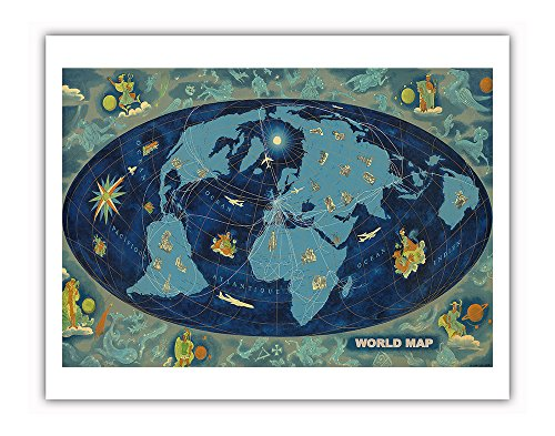 Price comparison product image World Map - Global World Route Map - Planisphere - Vintage Airline Travel Poster by Lucien Boucher c.1959 - Fine Art Print - 11in x 14in