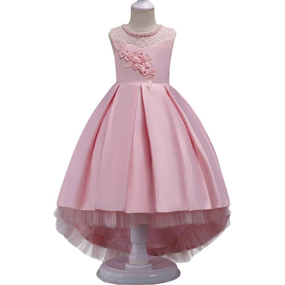 HUANQIUE Girls Hi-Low Wedding Pageant Dress Flower Girl Party Gowns Pink 9-10 Years