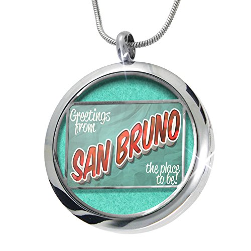 NEONBLOND Greetings from San Bruno, Vintage Postcard Aromatherapy Essential Oil Diffuser Necklace Locket Pendant Jewelry Set