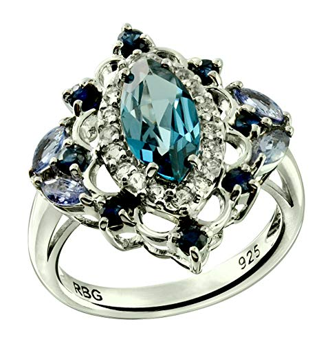 RB Gems Sterling Silver 925 Ring GENUINE GEMS Marquise 10x5 mm, Rhodium-Plated Finish, Victorian style (london-blue-topaz, 7) - Topaz Marquise Ring