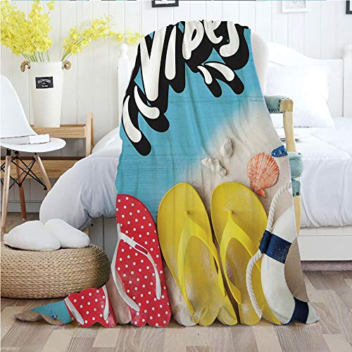 Good Vibes,Throw Blankets,Flannel Plush Velvety Super Soft Cozy Warm with/Flip Flops and Ocean Marine Shells on Wooden Planks Summer Holiday Essentials Decorative/Printed Pattern(70