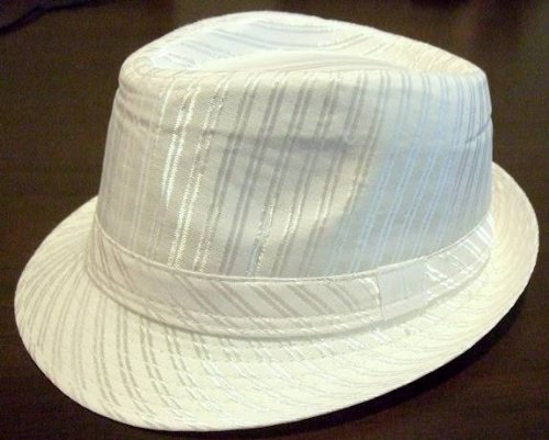 - Unisex Structured Fedora Tribly Belt Shiny White Pinstripes Gangster Panama Hat Cap WHITE