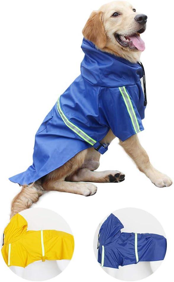 gudong Perro Chubasqueros-Abrigo Impermeable para Perros Ligero con Tira Reflectante para Perros medianos Grandes pequeños (Azul L)