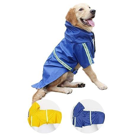 Perro Chubasqueros-Abrigo Impermeable para Perros Ligero con Tira Reflectante para Perros medianos Grandes pequeños