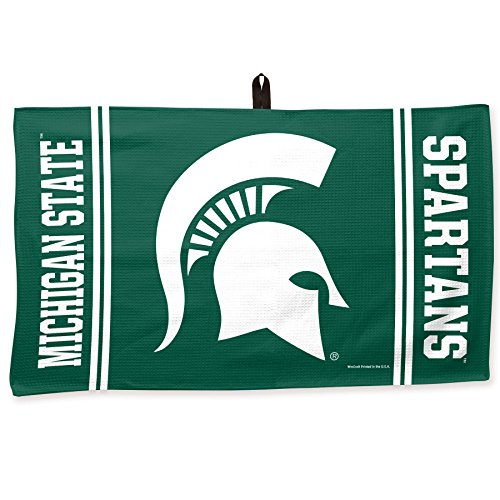 (Prime Golf SuperStore A2255115 Luxury Waffle Weave Collegiate Golf Towel & Center Loop   Michigan State University   Ultra-Soft Fabric   14