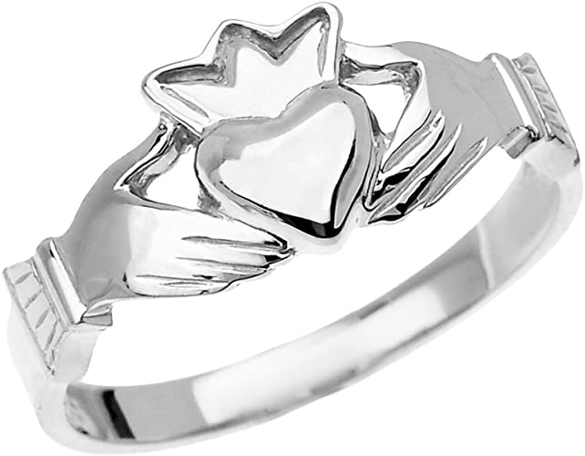 Fine Yellow Gold Dainty Ladies Claddagh Crown Ring