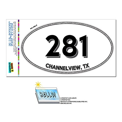 Graphics and More Area Code Euro Oval Window Bumper Laminated Sticker 281 Texas TX Alvin - Webster - Channelview