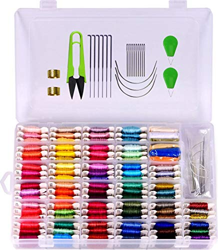 Embroidery Floss with Organizer Storage Box 158 String Kits