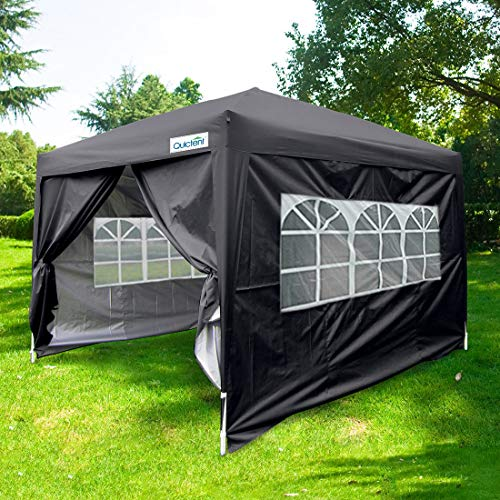 Quictent Silvox 10x10 EZ Pop Up Canopy Party Tent Instant Gazebo Waterproof with 4 Sides & Roller Bag -8 Colors (Black)