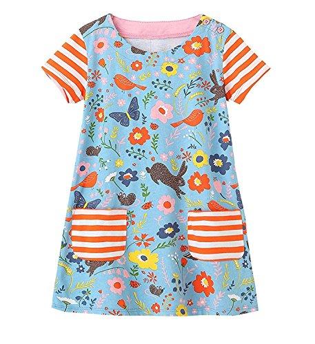 (LYXIOF Girls Casual Short Sleeve Dress Toddler Cotton Cartoon T-Shirt Dresses 32 B)