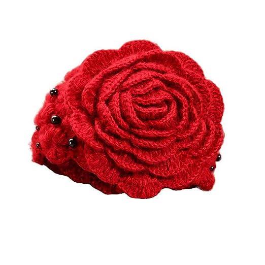 Sombrero De La Boina De Punto Lindo De Las Flores De Perlas ...