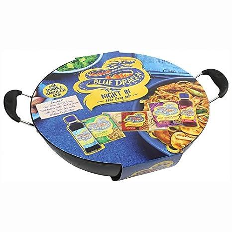 Dragón azul completa con mango doble para Wok y salsas Set: Amazon.es: Hogar