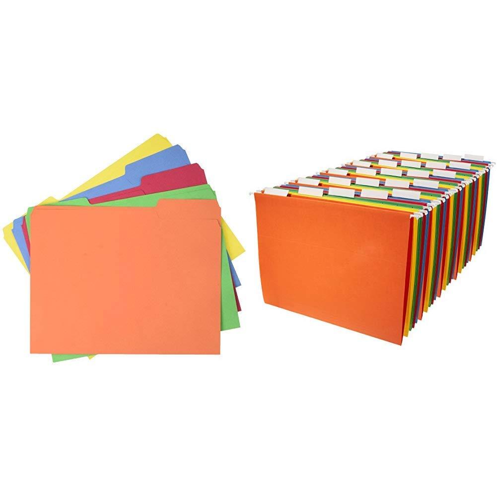 AmazonBasics AMZ401  File Folders - Letter Size (100 Pack) - Assorted Colors &  Hanging File Folders - Letter Size (25 Pack) - Assorted Colors