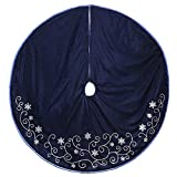 New Traditions 48 IN VELVET TREE SKIRT WITH SEQUINED VINES AND TAFFETA PIPING - BLUE/SILVER