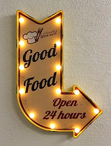 Leuchtschild 21244 LED Schild aus PVC 62cm Display Hängeschild Shabby Wandschild (Gelb)