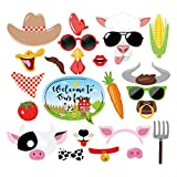 LJCL Farm Birthday Party Decorations,Farm Animal Photo Booth Props,Barn Door Props,Barnyard Theme Party Supplies Favor 25Ct