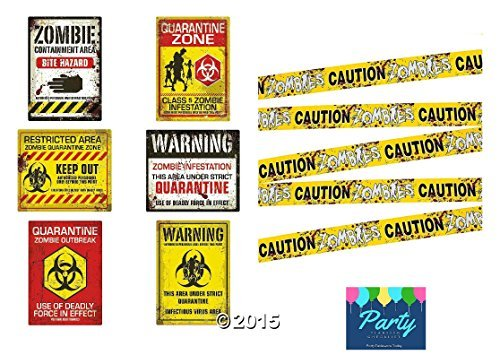 Zombie Caution Tape & Zombie Posters Pack for Zombie Party or Halloween Party for $<!--$12.99-->