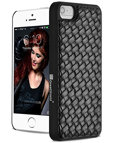GreatShield GUARDIAN Weave Leather Snap Case for iPhone 5/5s/SE - Black